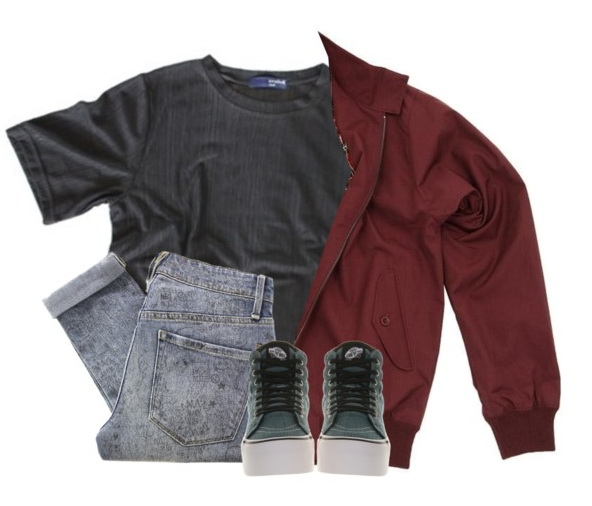 women's sporty outfit with red harrington jacket