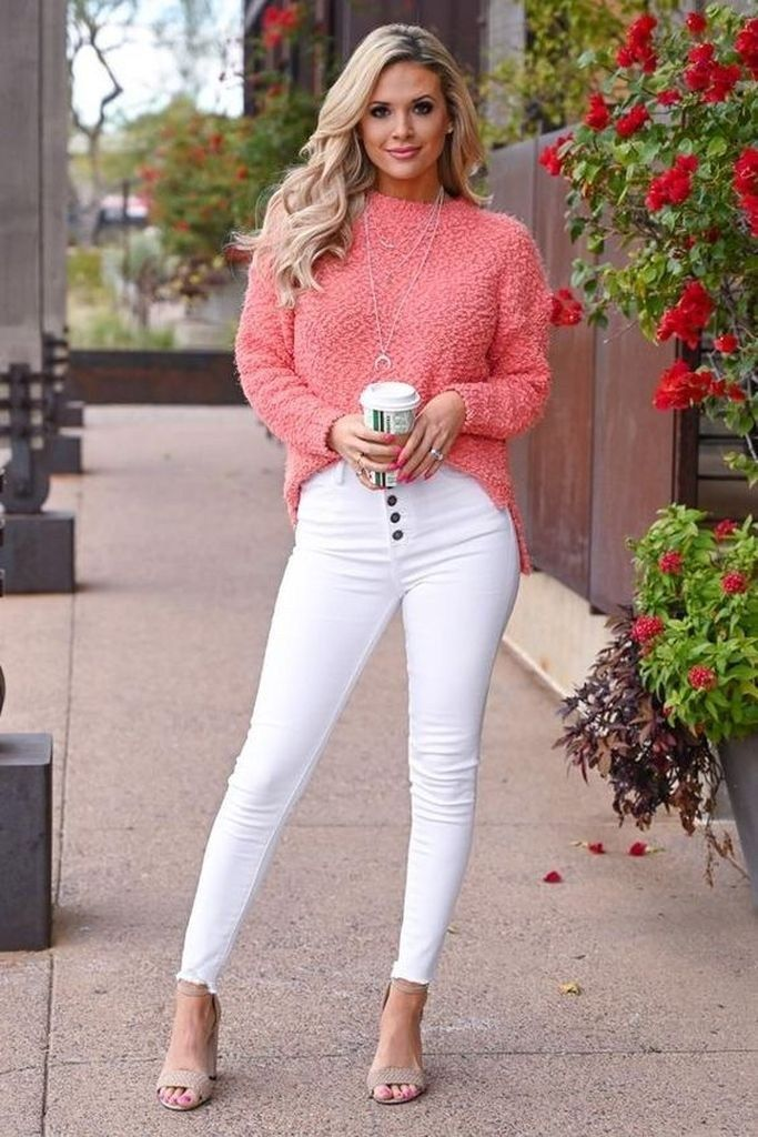 women's casual pastel pink outfit