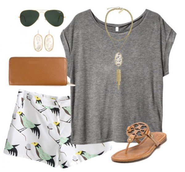 women's summer outfit with bird print shorts and sandals