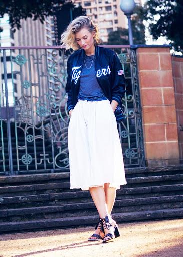 women's varsity jacket with long skirt