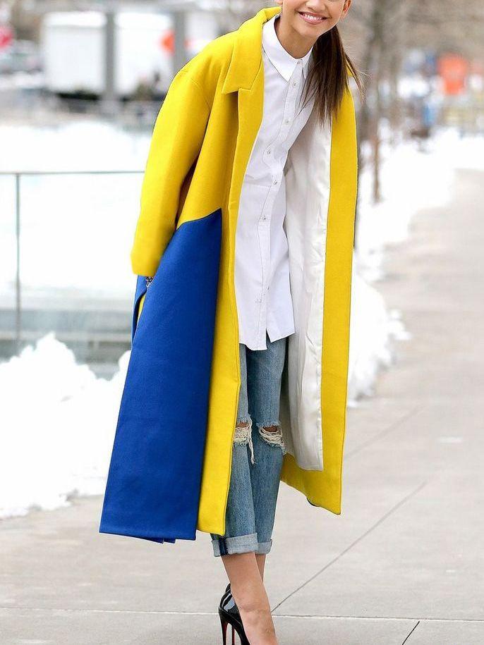 women's color block coats for winter