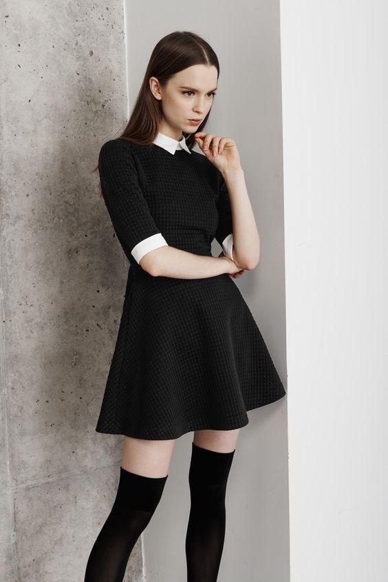 casual black collar shirt dresses for fall winter