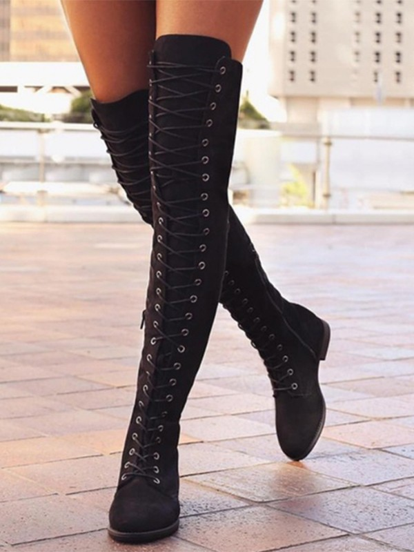 lace up long boots for women
