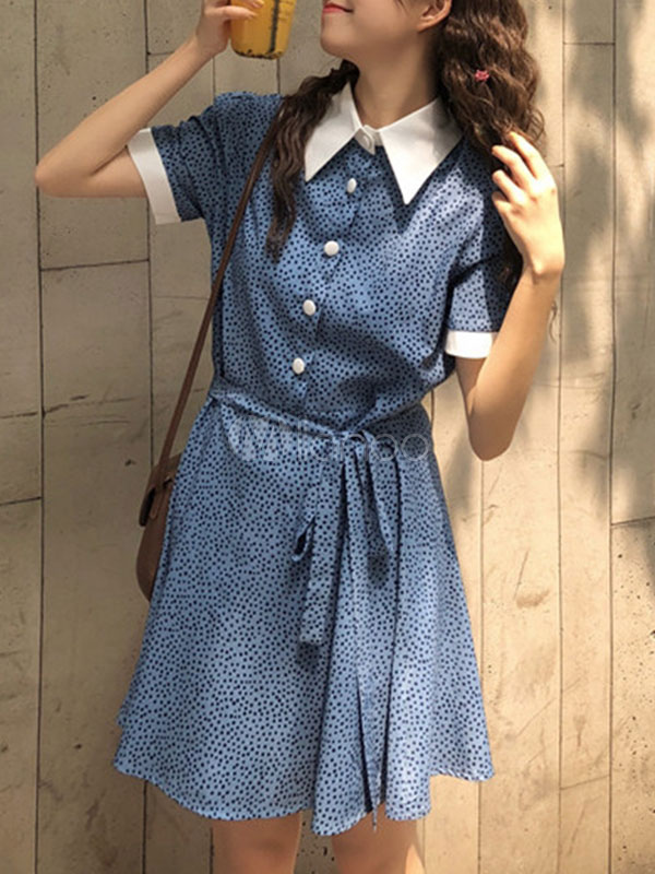 blue collar shirt dresses for spring summer