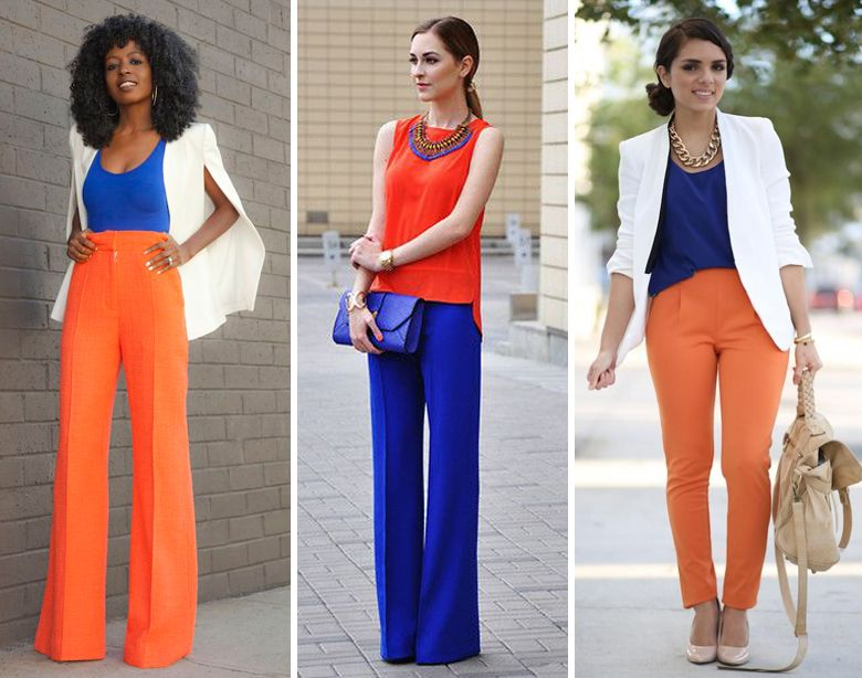 women's bright clothing for work in orange and blue