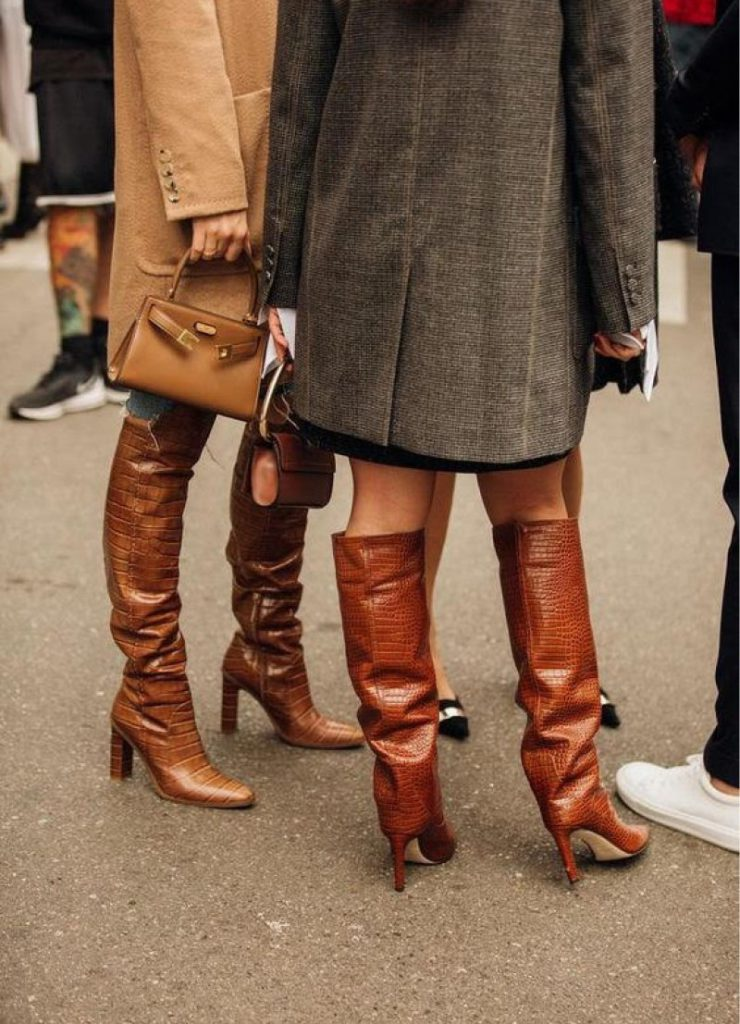 tall high boots in brown leather for women