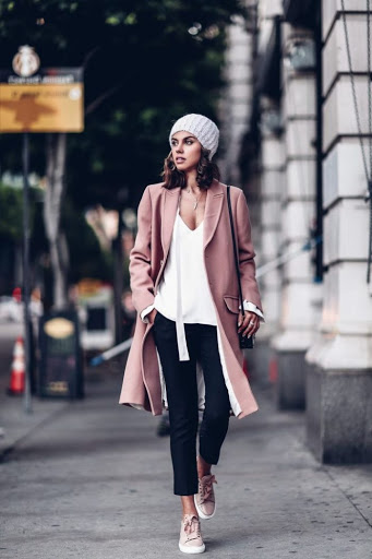 women's winter outfits with pastel coats