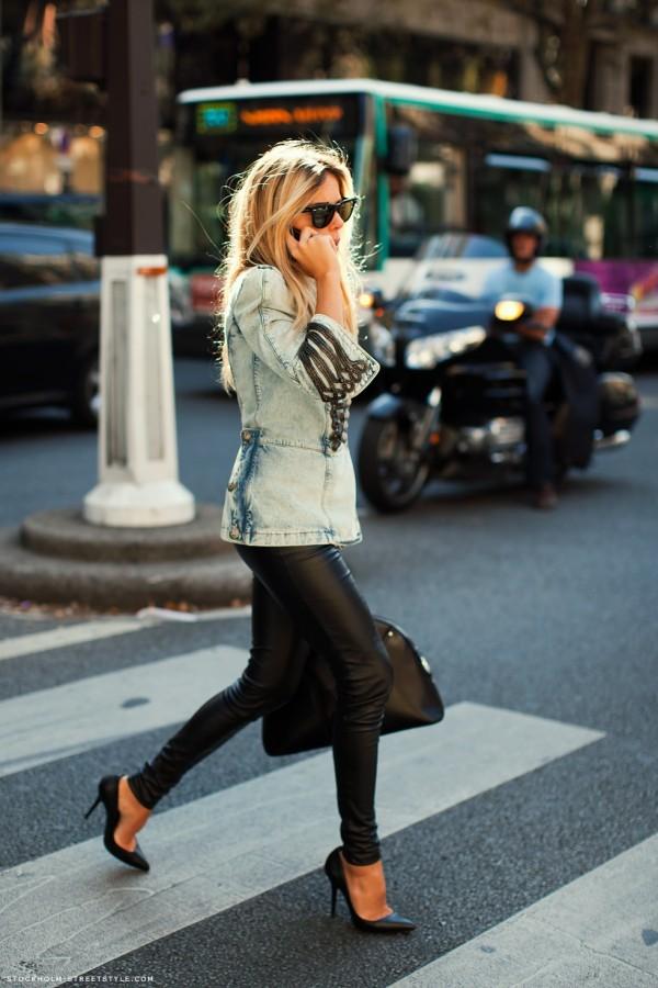 women's denim blazer with leather pants
