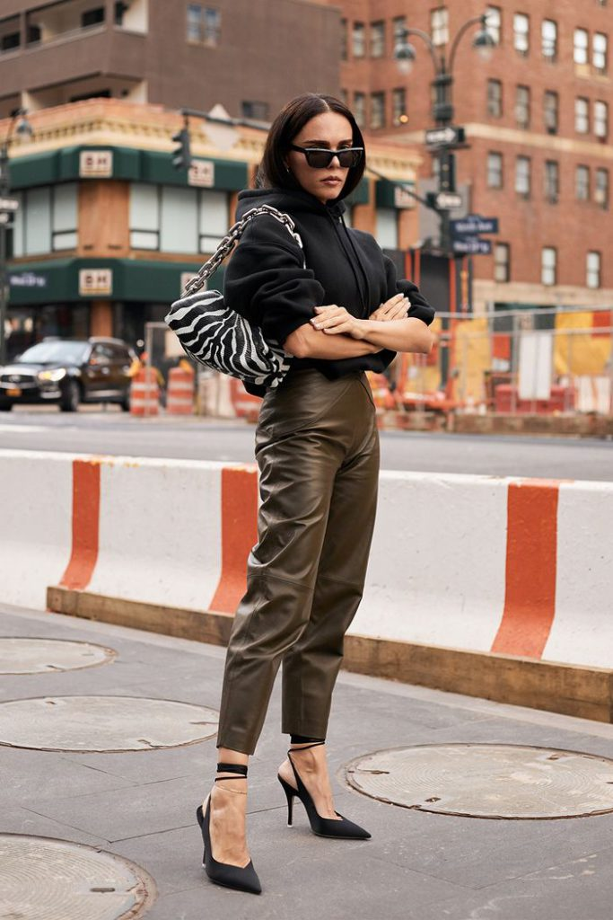 women's sweatshirts with leather pants and heels for work