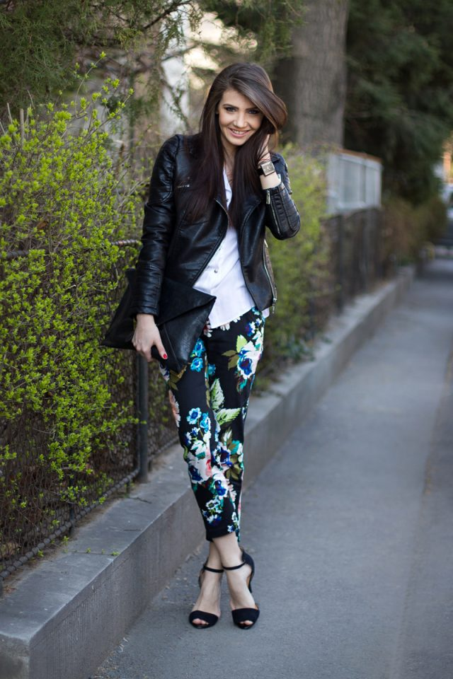 leather jacket and jeans with flower print