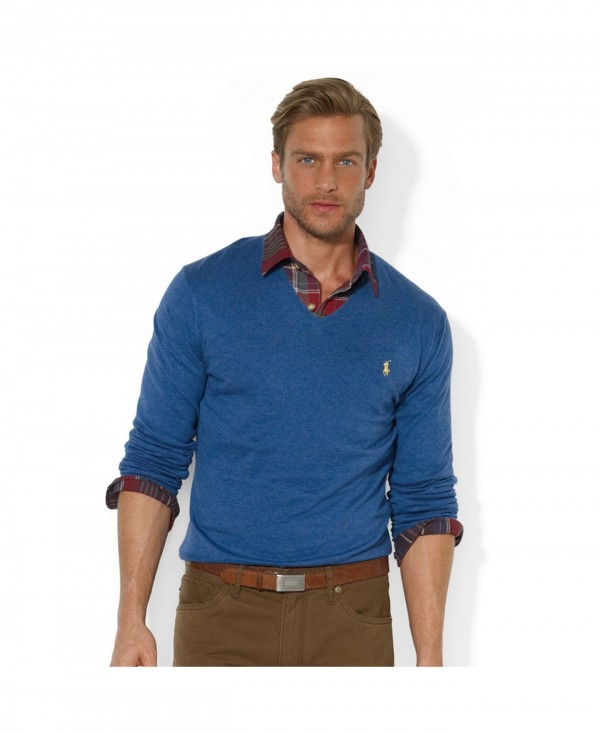 blue men's v-neck sweater with shirt