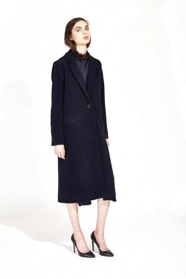 women's work outfit with blue coat