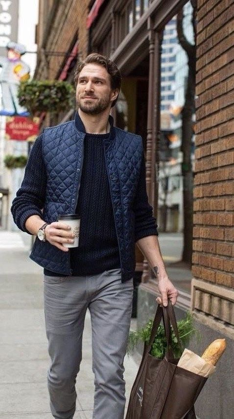 men's casual look with blue puffer vests