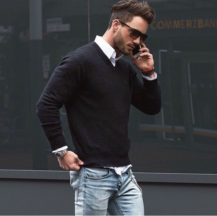 black men's v-neck sweaters in casual outfit