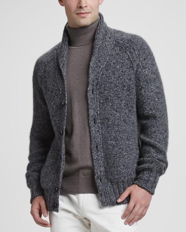 classic gray men's cardigan sweaters