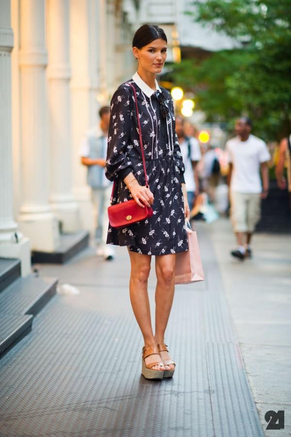 floral print dress new york street style for women