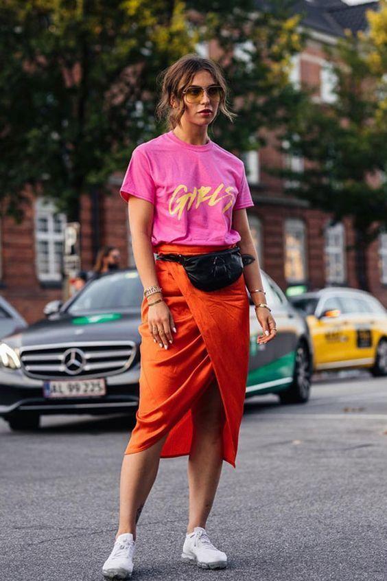 women's bright clothing orange pencil skirt pink t-shirt
