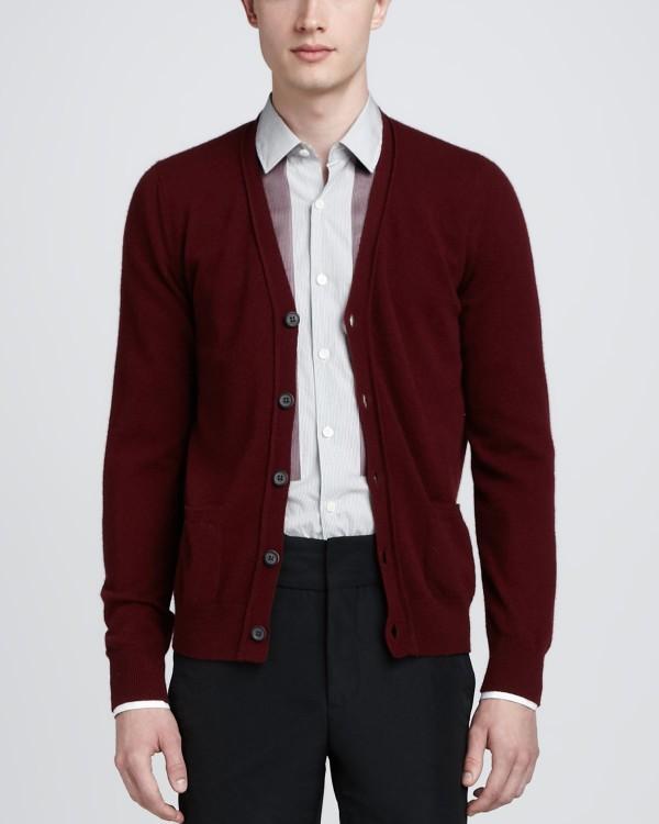 men's red cardigan
