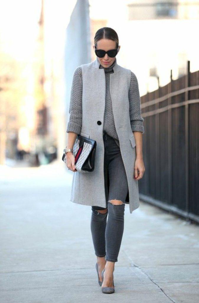 gray women's vests for work