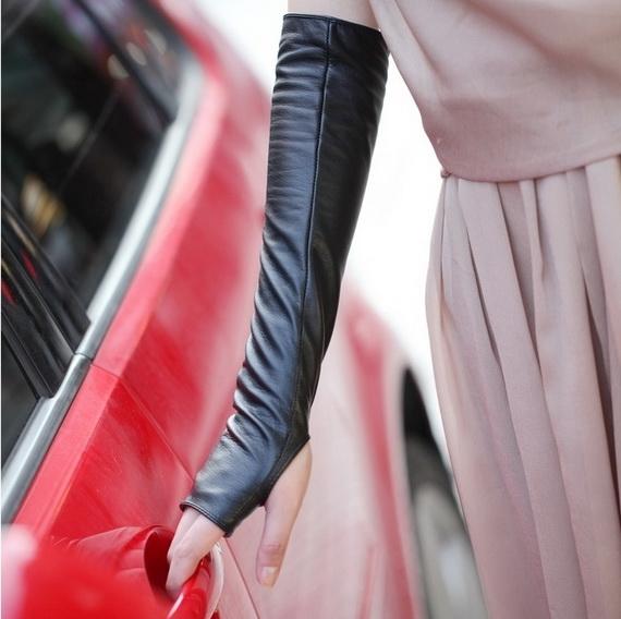 fingerless long leather gloves