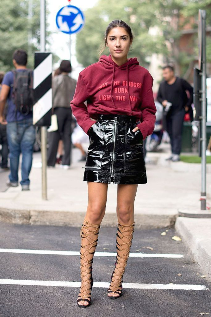 women's sweatshirts leather skirt and heels