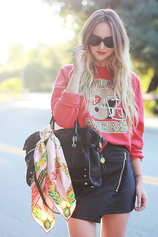 women's spring summer look with sweatshirts skirt and bag
