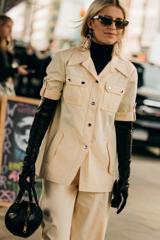 women's long elbow gloves in black leather