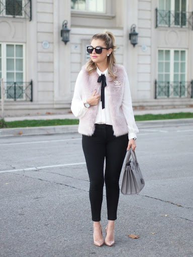 bow tie blouse with black pants