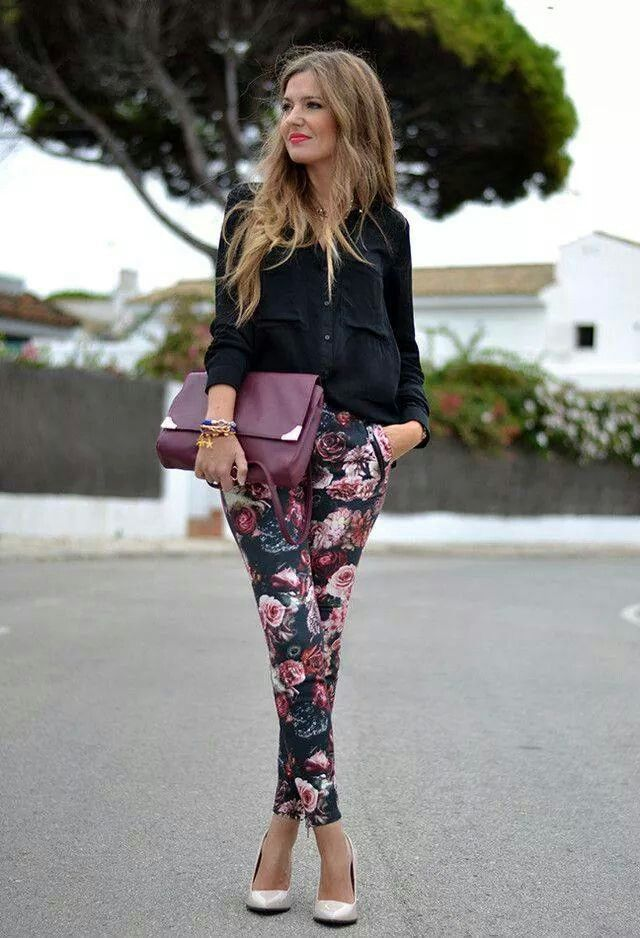 black outfit with jeans with flower print