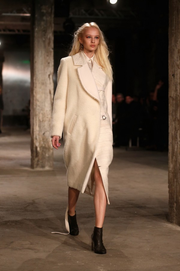 white coat with boots for winter