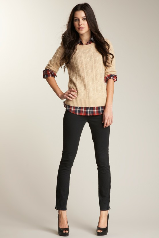women's casual business outfit with black skinny jeans sweater shirt and heels