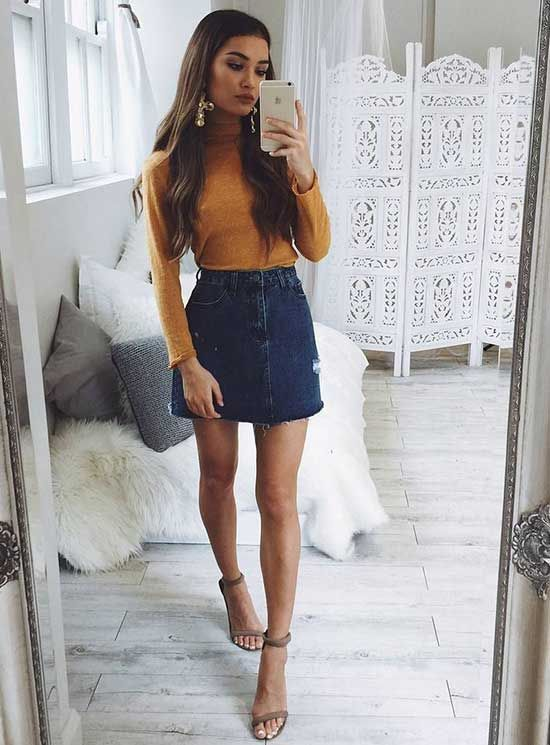 denim skirts fall outfits