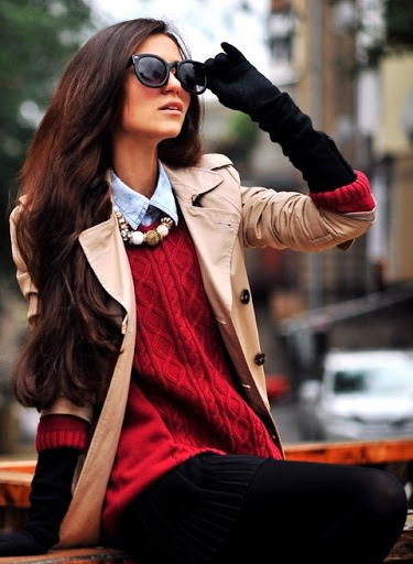 women's fall outfits with black long elbow gloves