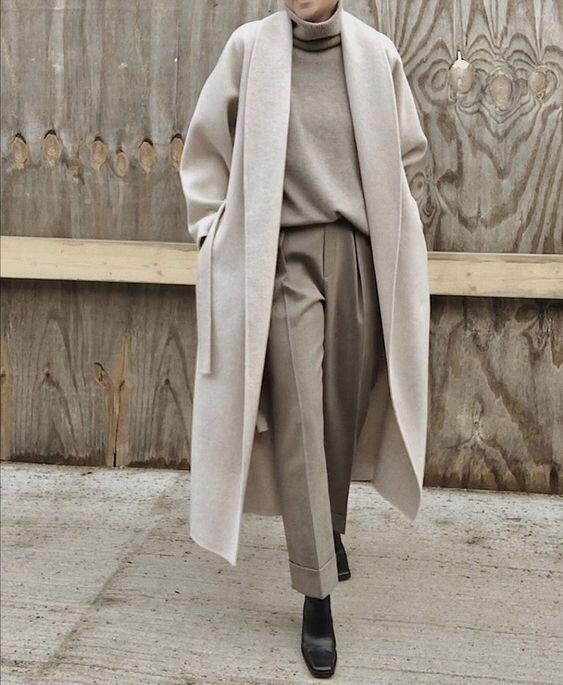 women's cream minimalist coats