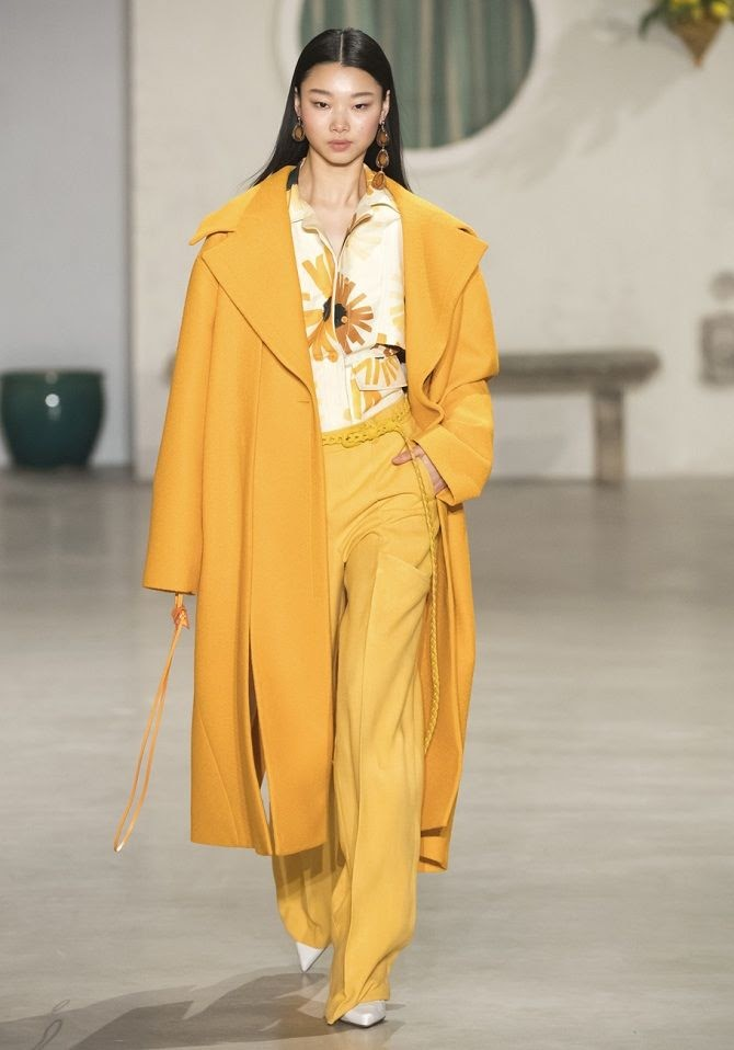 women's yellow fall winter outfit